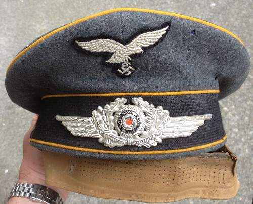 Luftwaffe visor cap questions