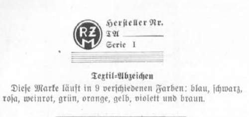 RZM Tag ID for NSDAP Ortsgruppen Visor