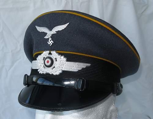 Robert Lubstein 1939 dated Luftwaffe Flight visor cap