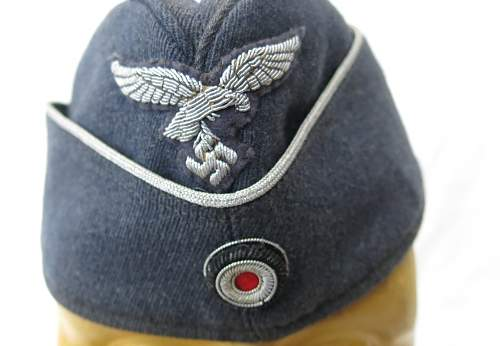 Luftwaffe Officer's Side Cap (Overseas Cap) with bullion insignia