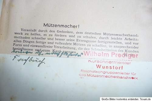 Wilhelm Prediger/Hempe/cap making