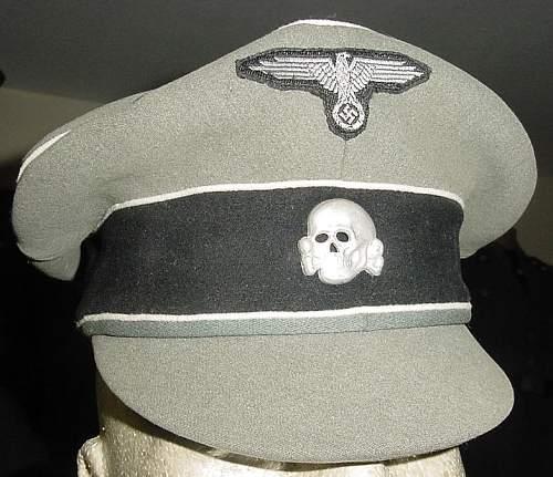 Gray S S Officer's Visor Cap