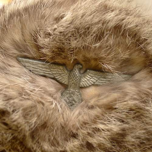 Seemingly authentic 194 maybe 3 dated Rabbit Fur Cap, Heer Eagle.
