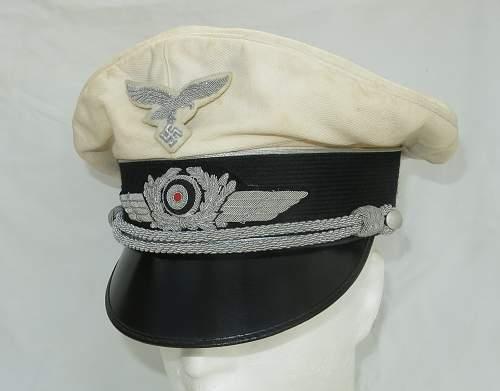 Click image for larger version.  Name:CW Luftwaffe Officer white top visor cap 001.jpg Views:151 Size:207.4 KB ID:915873