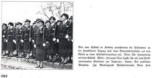 Click image for larger version.  Name:1a 2. Reichstagung des DRB - die weiblichen Beamten des DRB. Vordergrund Reichsreferentin Dora H.jpg Views:14 Size:239.6 KB ID:924796