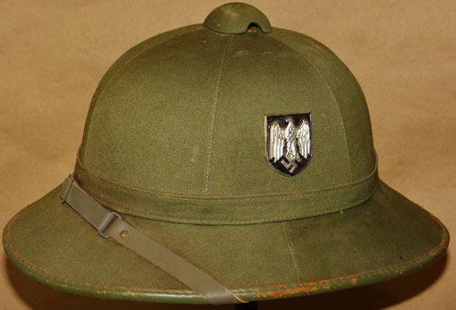 First pattern green canvas pith helmet