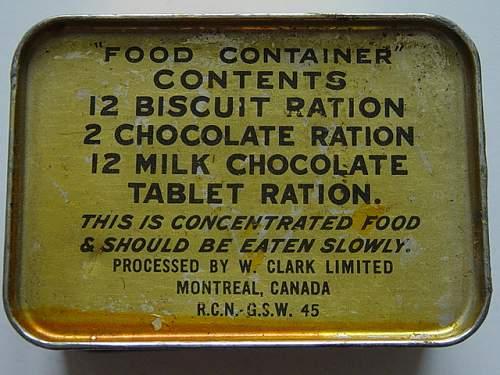 Click image for larger version.  Name:Canadian Royal Navy life raft ration tin..jpg Views:334 Size:151.3 KB ID:200575