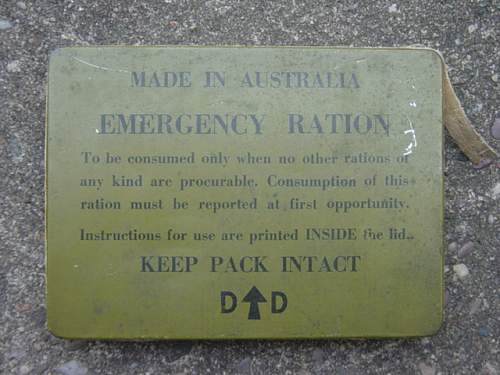 Click image for larger version.  Name:Austrailian Emergency ration tin. 002.jpg Views:139 Size:148.9 KB ID:200588