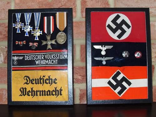 completed German medal/award display case
