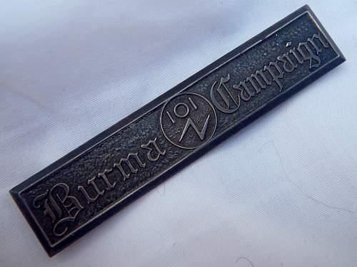 """Rare ORIGINAL """"BURMA 101 campaign"""" Bar"""