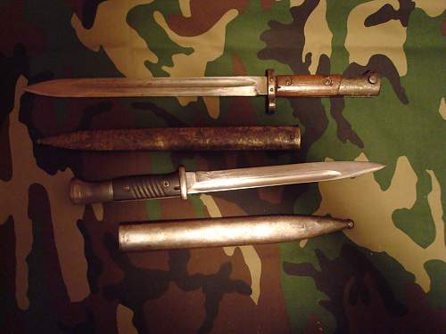 Two bayonets.
