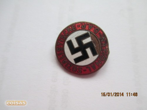 my new items a fascist portuguese youth banner a italian black shirts pin and a nazi pin