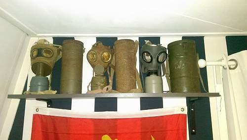 3 old Gas Masks