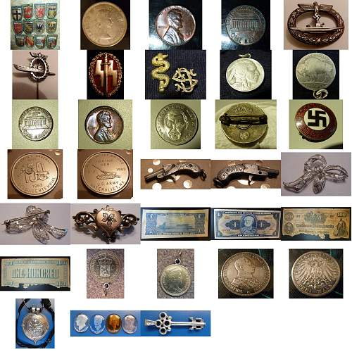 German Militaria and old coins, notes, pins, insignias