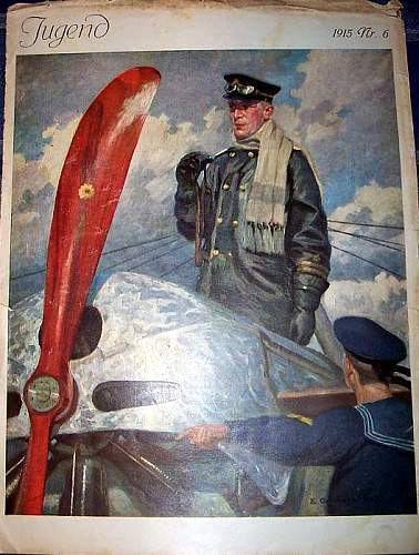 """Imperial German """"Jugend"""" Magazine Cover 1915 ~Aviation Theme~"""