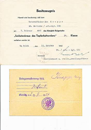 Click image for larger version.  Name:Top - Bulgarian Bravery medal 4th class Bottom - Report for duty WWI 1.jpg Views:2 Size:142.0 KB ID:923534