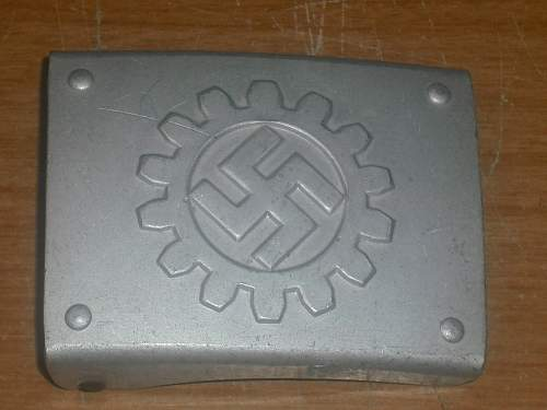 German DAF Labor Front belt buckle...ODD clasp...Assman marked...Opinions please