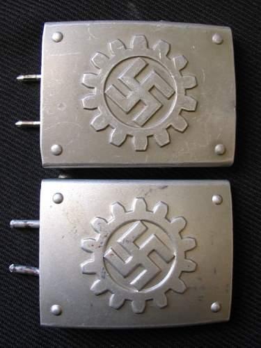 Two slightly unusual DAF-Werkschar buckles