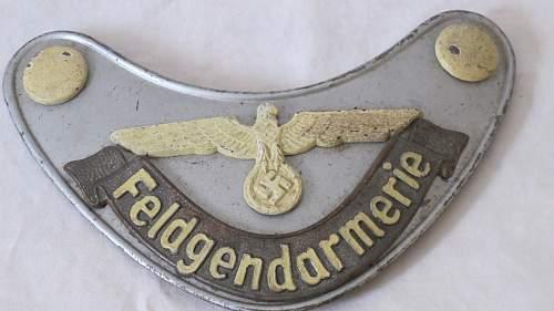 Third Reich Feldgendarmerie gorget  (Opinions please)