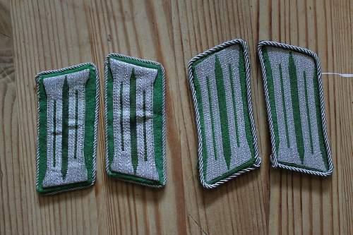 two pair of Schutzpolizei collar tabs
