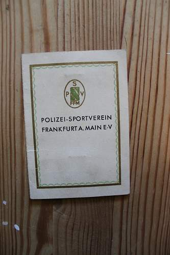 Pre-war Polizei sportverein Frankfurt id card