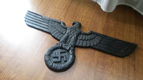 Is this third Reich eagle Iron or Bronze: is it real ? ? ? ?