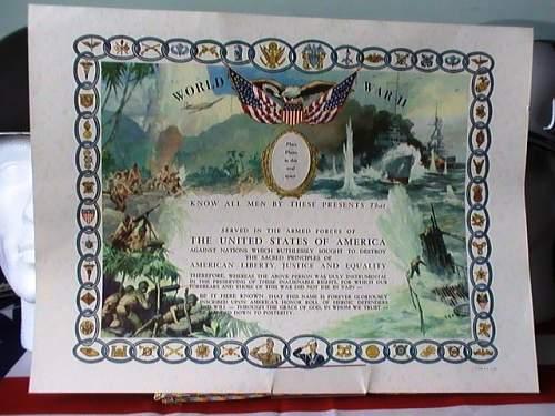 US WW2 certificate