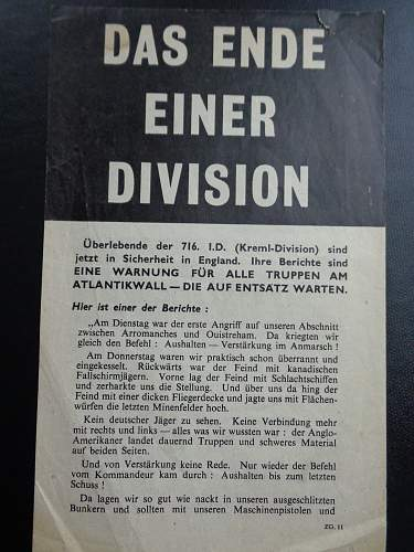 Normandy Propaganda leaflet,