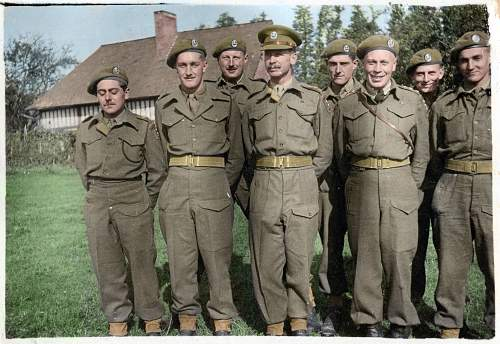 Officers of the Hallamshire Battalion, including my Great Grandad(3rd from the left). Colourised by me.
