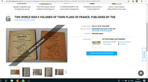 Through-way Town Plans of France, 1944 complete set of 6 volumes