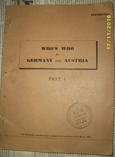 US Intelligence Book on Nazi Order