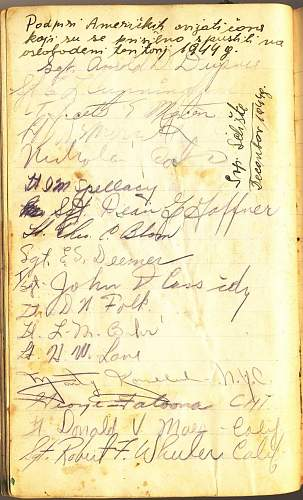 WWII US pilots POW signatures on a diary page!