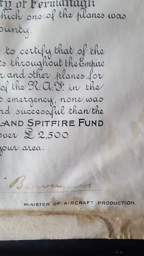 Raf spitfire fund certificate 1940