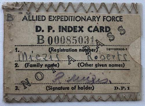 Allied Expeditionary Force D. P. Index Card