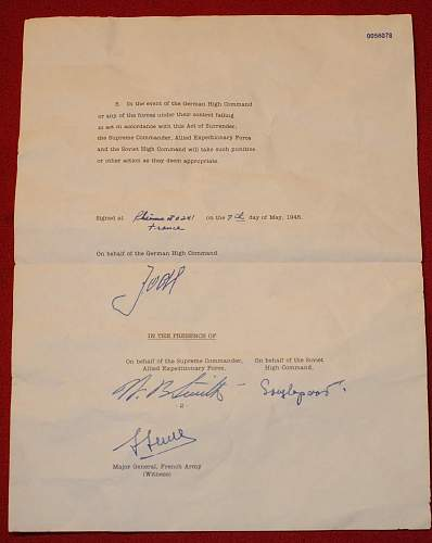 WW 2 Military surrender paper