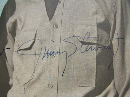 Jimmy Stewart signed picture, taken at Moffet Field