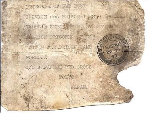 Rare Japanese POW camp envelope to British soldier