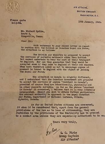 Letter from RAF attaché in Washington