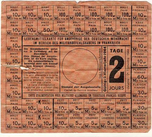 Ration Card for German Soldiers in French Occupied Territory