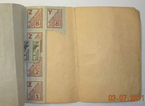 1942 20 Centavo Note - USAFFE ; USA War Ration Book No 3