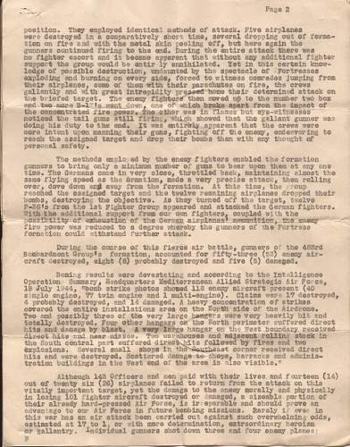 15th AAf 483rd heavy bombardment group presidential citation document