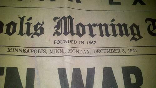 original pearl harbor news paper?