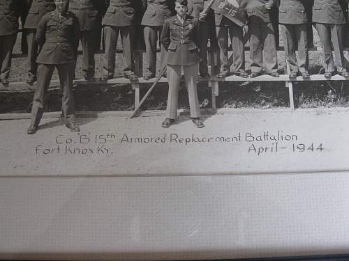 """C.O. """"B"""" 15 TH Armored Replacement Battalion photo 1944"""