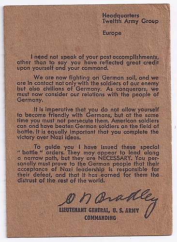 General's Orders on how to interact with the German population in Germany