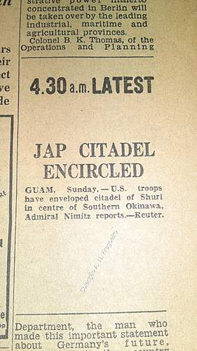 "Newspaper ""Daily Express"" Dated May 1945"