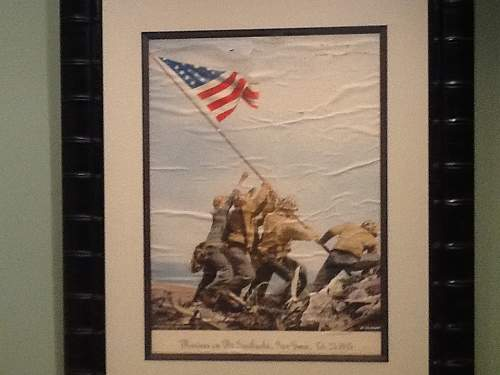 FDR Signed Neptune Ceremony, accompanying FDR photo with NC recipient and Rocky Keller signed IWO Jima AP photo