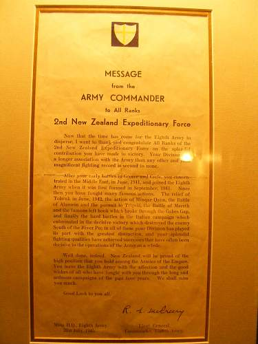 Letter to 2nd New Zealand Expeditionary Force