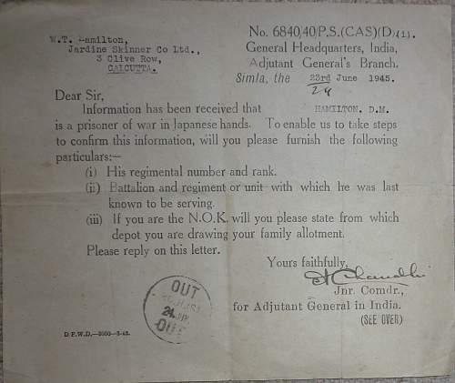 Japanese P.o.W paperwork items