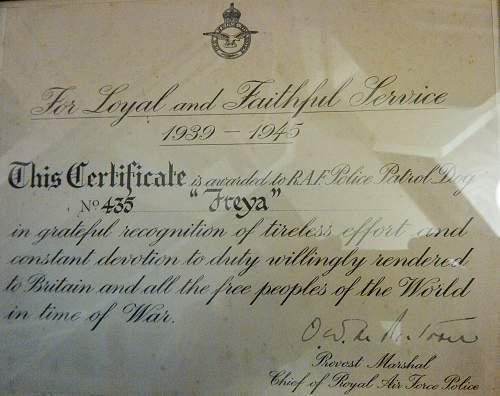 RAF WAR DOG award certificate signed by Provost Marshall RAF