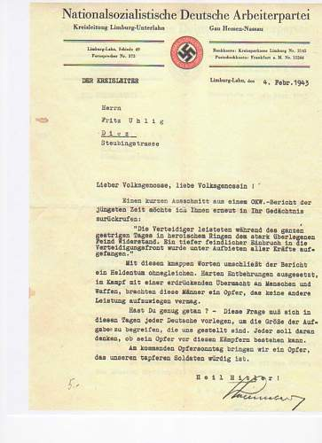Nationalsozialistische Deutsche Arbeiterpartei Feb. 4 1943 letter